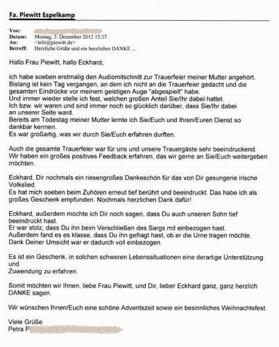 Kundenmeinungen - Piewitt GmbH & Co. KG in Espelkamp